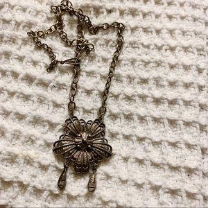 Silvertone Flower Pendant Chain Necklace